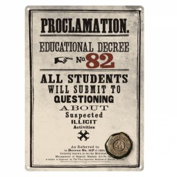 Harry Potter Proclamation Metal Sign