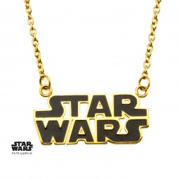 Star Wars Gold PVD Plated Logo Pendant with Chain