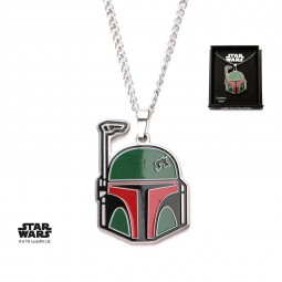 Star Wars Stainless Steel Boba Fett Enamel Cut Out Pendant with Chain