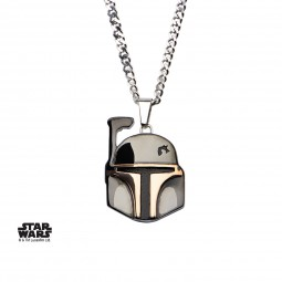 Star Wars Stainless Steel Black PVD Plated Boba Fett Helmet Pendant with Chain
