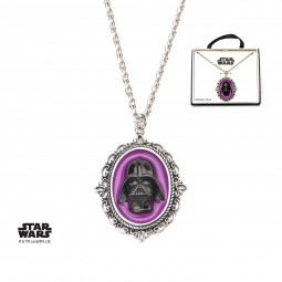 Star Wars Stainless Steel Darth Vader Cameo Pink Pendant with Chain