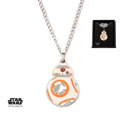 Star Wars Stainless Steel  Episode 7 BB-8 Enamel Pendant with Chain