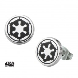 Star Wars Stainless Steel Galactic Empire Symbol Enamel Stud Earrings