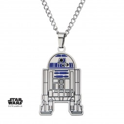 Star Wars Stainless Steel R2D2 Etched Enamel Cut Out Pendant with Chain