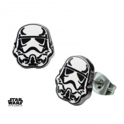 Star Wars Stainless Steel Stormtrooper Enamel Stud Earrings