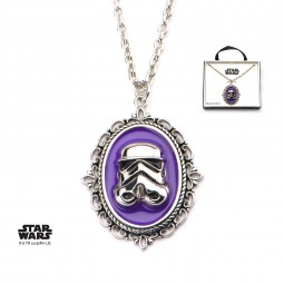 Star Wars Stainless Steel Stormtrooper Purple Cameo Pendant with Chain