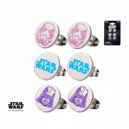 Star Wars Stainless Steel Logo, Darth Vader and Stormtrooper Stud Earring Set