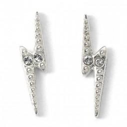 Harry Potter Lightning Bolt Earrings Sterling Silver Embellished with Swarovski Crystals