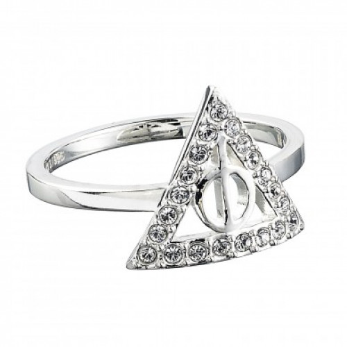 Harry Potter Deathly Hallows Ring Sterling Silver with Swarovski Crystals