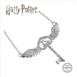 Harry Potter Flying Key Sterling Silver Necklace with Swarvoski Crystals