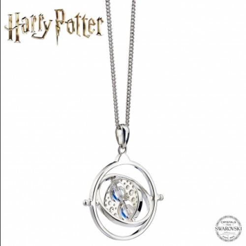 Harry Potter Time Turner Sterling Silver Necklace Embellished with Swarovski Crystals