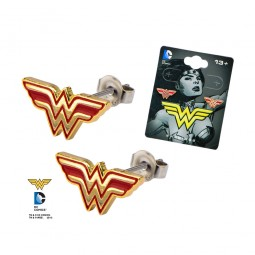 DC Wonder Woman Earrings Red Logo