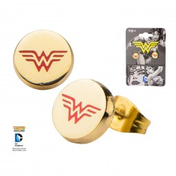 DC Wonder Woman Earrings with Logo.
