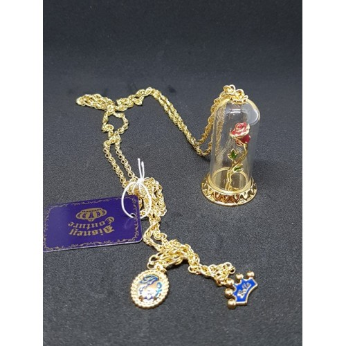 Disney Couture Beauty & the Beast Gold Plated Enchanted Rose Necklace