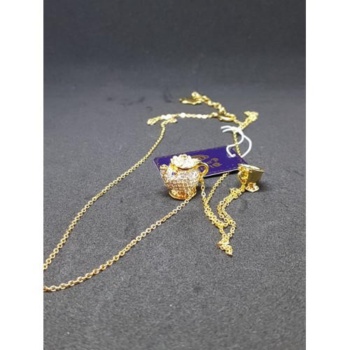 Disney Couture Beauty & the Beast Gold Plated Crystal Mrs Potts & Chip Necklace