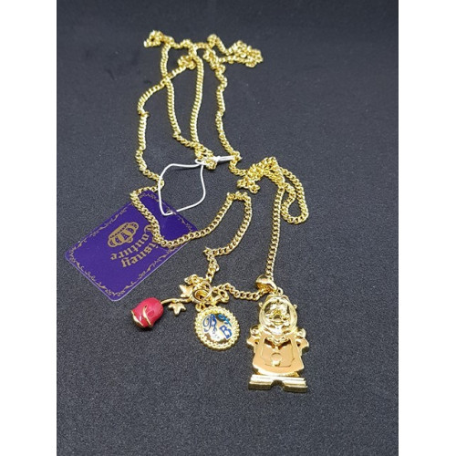Disney Couture Beauty & the Beast Gold Plated Cogsworth Necklace