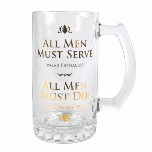 Game of Thrones Glass Tankard 'All Men Must Serve'