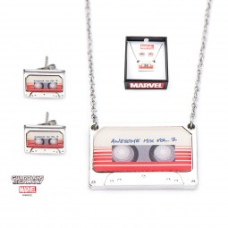 Marvel Awesome Mix Tape Earring & Necklace Set