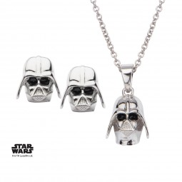 Star Wars Sterling Silver Darth Vader Pendant & Earring Set