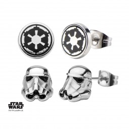 Star Wars Earring Set Stormtrooper & Galactic Empire Symbol